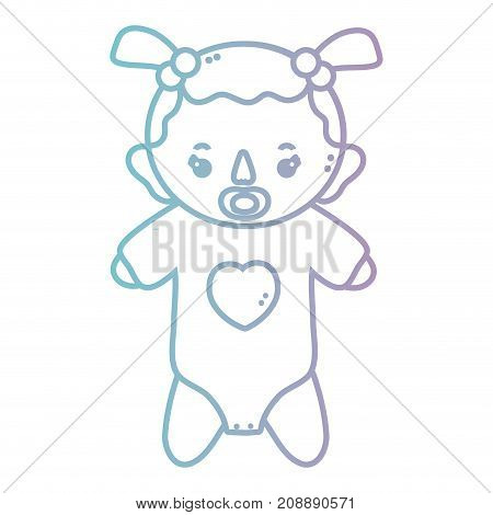 line baby girl with pijama and pacifier vector illustration