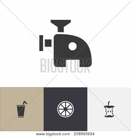 Set Of 4 Editable Meal Icons. Includes Symbols Such As Meat Grinder, Stub, Orange And More