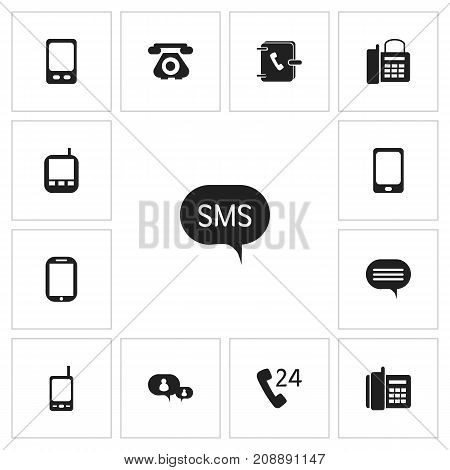 Set Of 13 Editable Gadget Icons. Includes Symbols Such As Home Cellphone, Mobile, Smartphone And More
