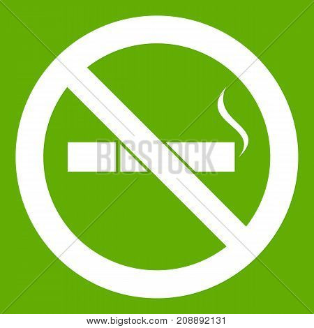 No smoking sign icon white isolated on green background. Vector illustration