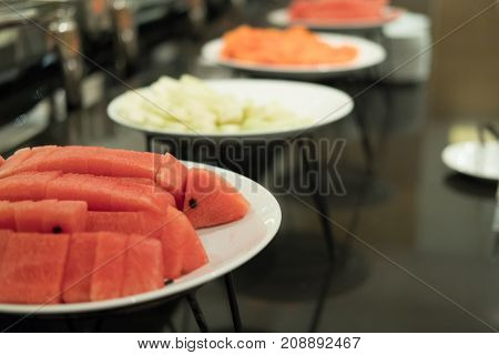 Food Buffet In Restaurant. Catering In Hotel For Wedding Party Banquet Event. Eating, Dining Concept