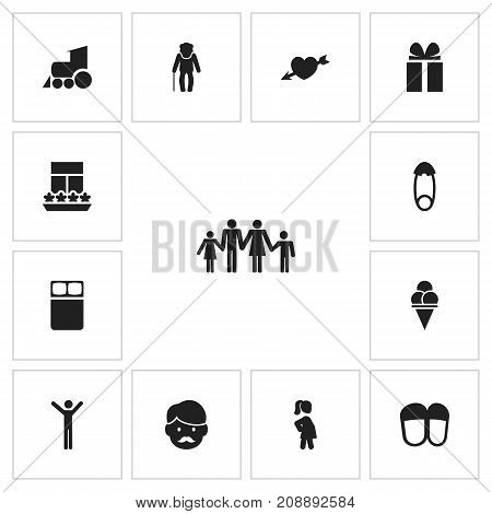 Set Of 13 Editable Kin Icons. Includes Symbols Such As Fasten, Father, Locomotive And More