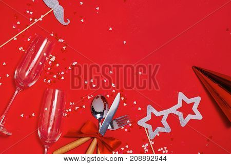 Christmas table place setting with copy space
