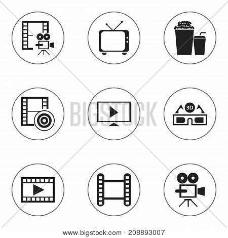 Set Of 9 Editable Filming Icons. Includes Symbols Such As Drink, Video, Photography And More