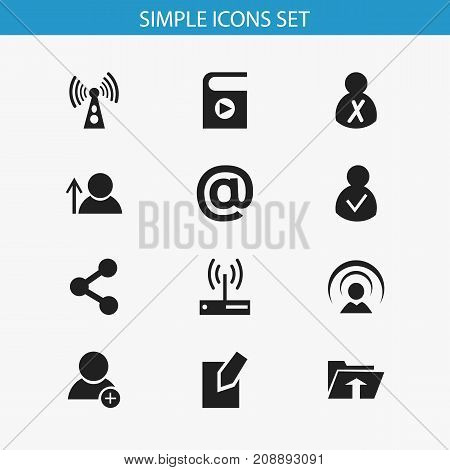 Set Of 12 Editable Global Icons. Includes Symbols Such As Access Allowed, Song List, New Friend And More