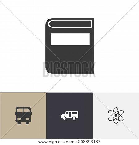 Set Of 4 Editable School Icons. Includes Symbols Such As Molecule, Literature, Autobus And More