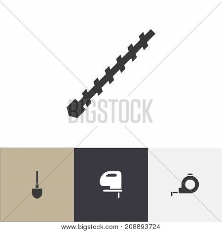Set Of 4 Editable Tools Icons. Includes Symbols Such As Spade, Band, Saw