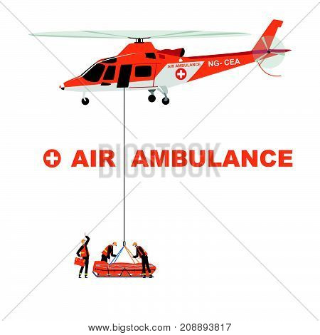 Stock vector illustration: Helicopter rescues a patient from a remote location.