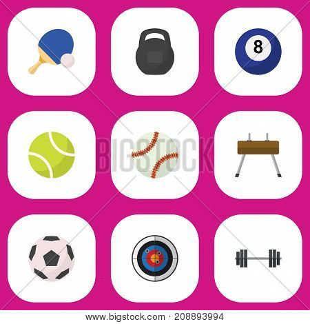 Set Of 9 Editable Lifestyle Flat Icons. Includes Symbols Such As Glob, Billiards, Gir And More