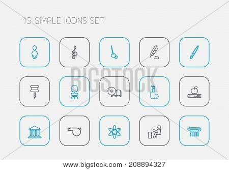 Set Of 15 Editable Science Outline Icons. Includes Symbols Such As Treble Clef, Jumping, Apple And More