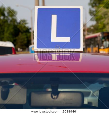 Blue Learner Driver Symbol on Car Roof