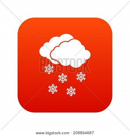 Cloud and snowflakes icon digital red for any design isolated on white vector illustration