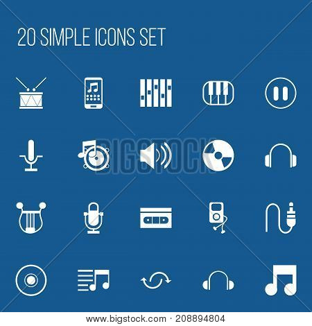Set Of 20 Editable Media Icons. Includes Symbols Such As Earphone, Equalizer, Loudspeaker And More