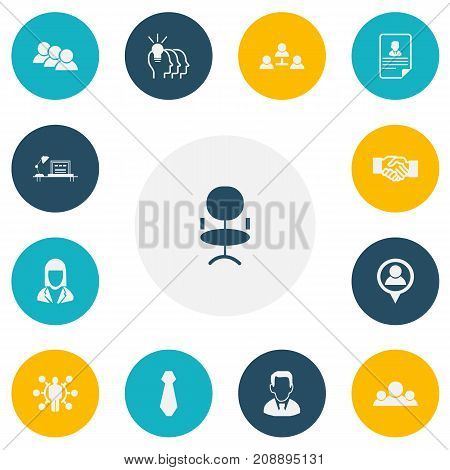 Set Of 13 Editable Job Icons. Includes Symbols Such As Staff, Location, Ergonomic Seat And More