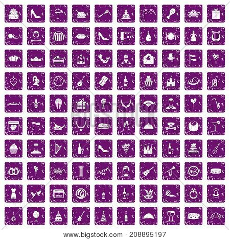 100 banquet icons set in grunge style purple color isolated on white background vector illustration