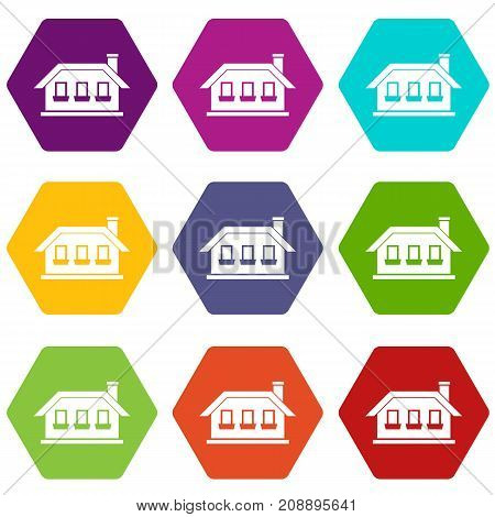 One-storey house with three windows icon set many color hexahedron isolated on white vector illustration