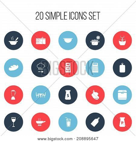Set Of 20 Editable Cook Icons. Includes Symbols Such As Cutting Surface, Squeezer, Chopping Board And More