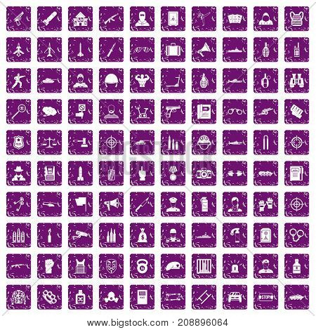 100 officer icons set in grunge style purple color isolated on white background vector illustration