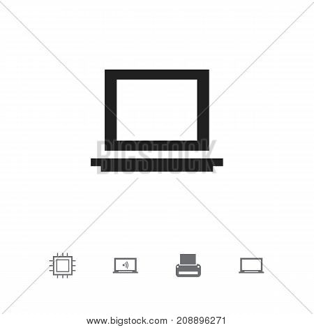 Set Of 5 Editable Laptop Icons. Includes Symbols Such As Printing Machine, Monitor, Display And More