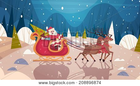 Santa Riding Sledge With Reindeers In Forest, Merry Christmas And Happy New Year Banner Winter Holidays Concept Flat Vector Illustration