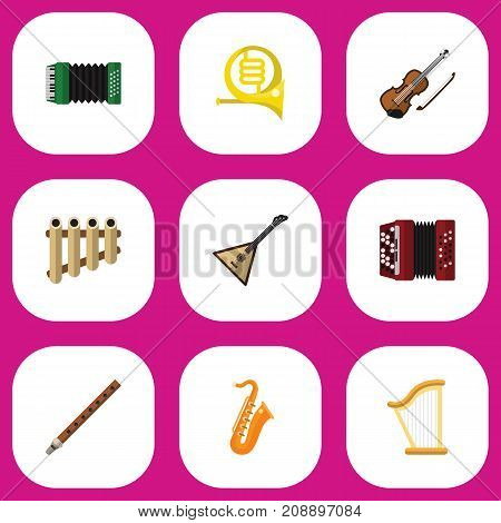 Set Of 9 Editable Sound Flat Icons. Includes Symbols Such As Zither, Accordion, Flute And More