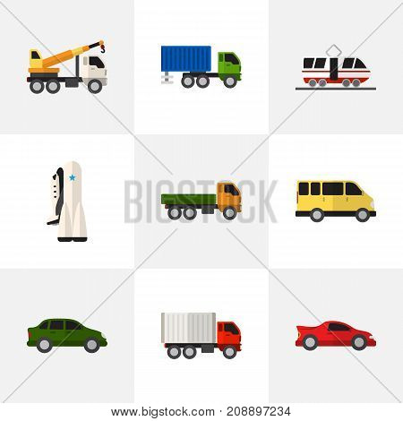 Set Of 9 Editable Car Flat Icons. Includes Symbols Such As Sport Car, Lorry, Hoisting Machine And More