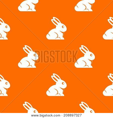 Easter bunny pattern repeat seamless in orange color for any design. Vector geometric illustration