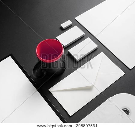 Corporate stationery set. Blank branding identity template on black background.
