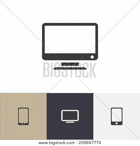 Set Of 4 Editable Instrument Icons. Includes Symbols Such As Screen, Television, Smartphone And More