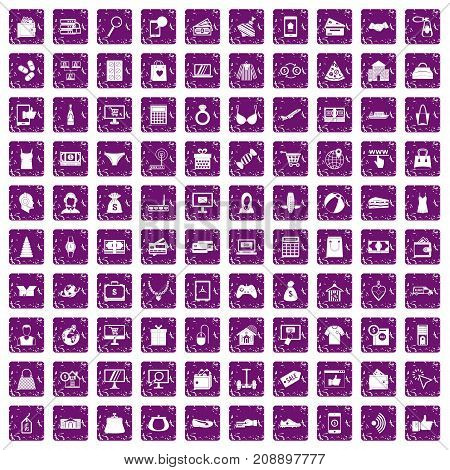 100 online shopping icons set in grunge style purple color isolated on white background vector illustration