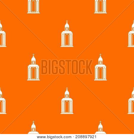 Church pattern repeat seamless in orange color for any design. Vector geometric illustration
