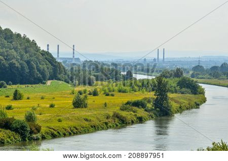 Vistula river in Poland. View from the hills in Tyniec on the longest river in Poland.