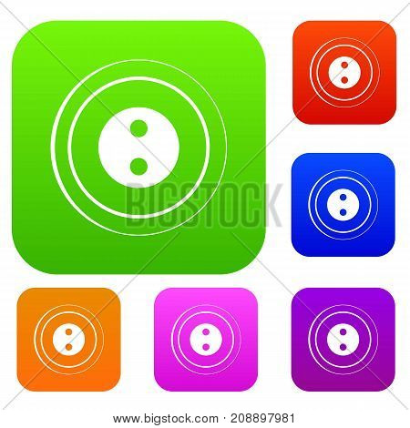 Button set icon color in flat style isolated on white. Collection sings vector illustration