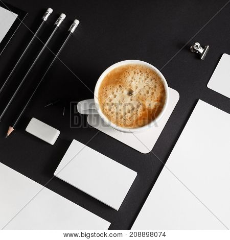 Branding template on black paper background. Blank stationery set. Mockup for corporate identity for placing your design.