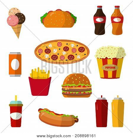 Set of colorful cartoon fast food icons isolated unhealthy lunch snack vector illustration. Cheeseburger meal drink dinner hotdog popcorn frenchfries.
