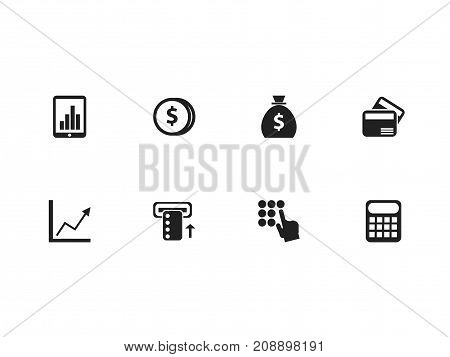 Set Of 8 Editable Finance Icons. Includes Symbols Such As Introduce, Entering Password, Electronic Retail And More
