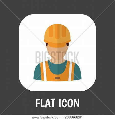 Vector Illustration Of Occupation Symbol On Worker Flat Icon