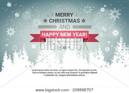 Merry Christmas And Happy New Year Concept Winter Holidays Greeting Card Over Transparent Forest Background Flat Vector Illustration