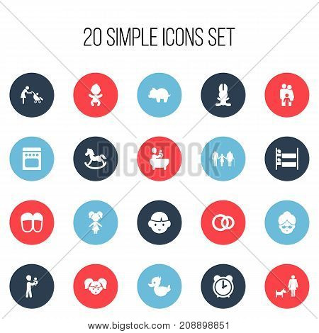 Set Of 20 Editable Family Icons. Includes Symbols Such As Grandma, Dad, Pony
