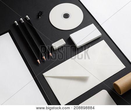 Corporate stationery mockup. Blank business brand template on black background.