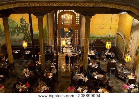 MEXICO CITY, MEXICO - FEB 12, 2017: Diners enjoy lunch at one of the oldest restaurants in Mexico city centre