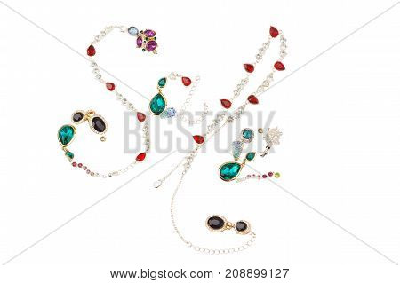 Word sale made from different jewelry isolated on white