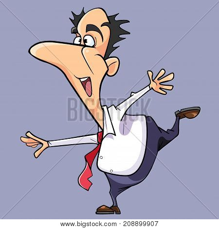 cartoon happy man in a tie stands in a pose swallow
