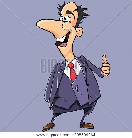 cartoon happy man in suit and tie shows an approving gesture