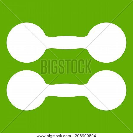 Pair of dumbbells icon white isolated on green background. Vector illustration
