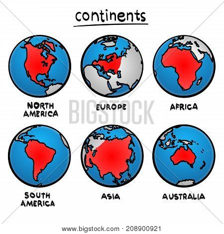 Sketch drawing continents, Planet continent Europe, Planet continent Asia, Planet continent America, Planet continent Australia, Planet continent Africa, Vector illustration