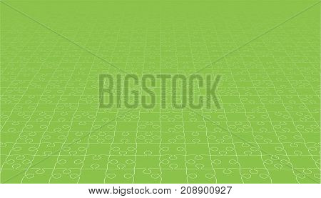 Perspective Green Puzzles Pieces - Vector Illustration. Jigsaw Puzzle Blank Template. Vector Background.