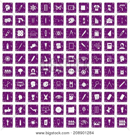 100 paint icons set in grunge style purple color isolated on white background vector illustration