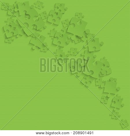 Green Puzzles Pieces Square - Vector Illustration. Scattered Smoke Jigsaw Puzzle Blank Template. Vector Background.