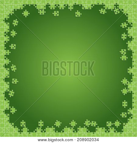 Green Transparent Puzzles Pieces - Vector Illustration. Scattered Jigsaw Puzzle Blank Template. Vector Background.